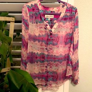 100% silk blouse- gorgeous painted colors